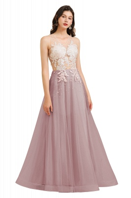 Stylish Sleeveless Evening Maxi Dress A-line Lace Appliques Prom Dress_2