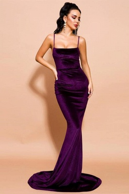 Stylish Velvet Mermaid Prom Party Dress Velvet Spaghetti Straps_2