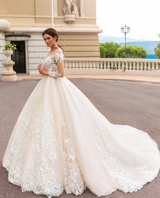 Luxury Lace Wedding dress Shiny Cathedral train Long Sleeve wedding gown_3
