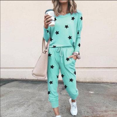 Homewear Tops and Pants Two Sets Sleepwear Long Sleeve Loungewear for Women_16