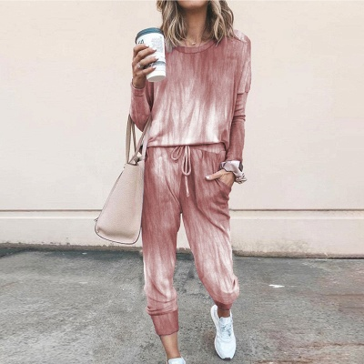 Homewear Tops and Pants Two Sets Sleepwear Long Sleeve Loungewear for Women_2