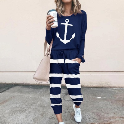 Homewear Tops and Pants Two Sets Sleepwear Long Sleeve Loungewear for Women_5