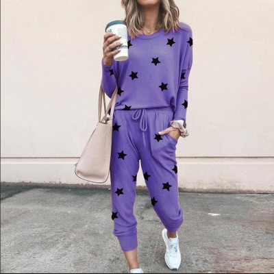 Homewear Tops and Pants Two Sets Sleepwear Long Sleeve Loungewear for Women_9