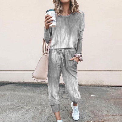 Homewear Tops and Pants Two Sets Sleepwear Long Sleeve Loungewear for Women_7