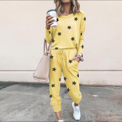 Homewear Tops and Pants Two Sets Sleepwear Long Sleeve Loungewear for Women_4