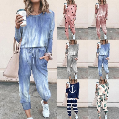 Homewear Tops and Pants Two Sets Sleepwear Long Sleeve Loungewear for Women_12
