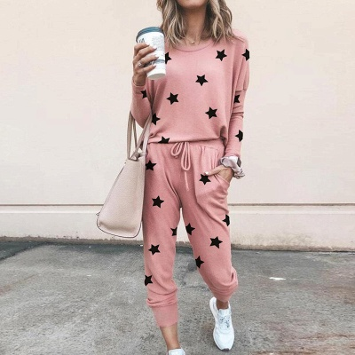 Homewear Tops and Pants Two Sets Sleepwear Long Sleeve Loungewear for Women_1