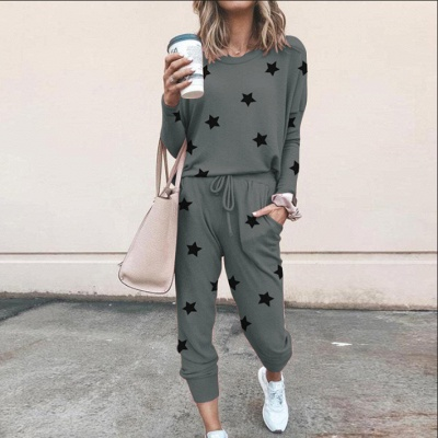 Homewear Tops and Pants Two Sets Sleepwear Long Sleeve Loungewear for Women_8