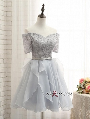 Short A-Line Lace Off-the-Shoulder Bowknot Elegant Homecoming Dress_3