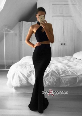 Mermaid Black Two-Piece Halter Newest Sleeveless Prom Dress BA7157_2