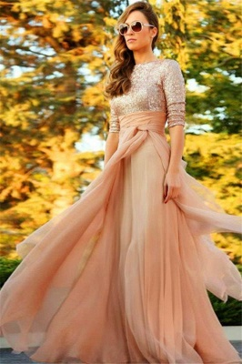 Stunning Sequins Long 2020 Evening Dress Half Sleeves Prom Gown_1