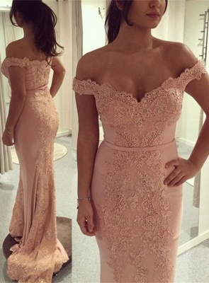 Glamorous Off-the-Shoulder Mermaid Evening Dress 2020 Lace Appliques On Sale BA7426_1