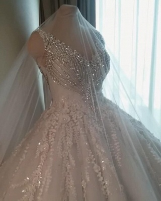 Luxury Crystals Ball Gown Wedding Dresses | V-Neck Sleeveless Lace Bridal Gowns_6