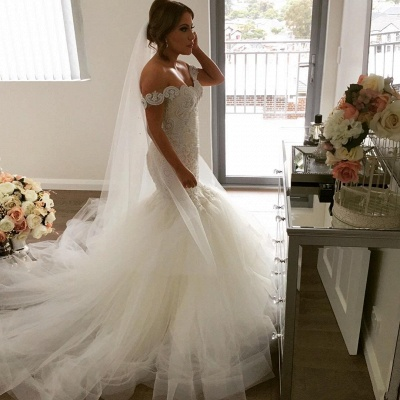 Glamorous Off-the-Shoulder Mermaid Wedding Dress | 2020 Tulle Bridal Gowns_5