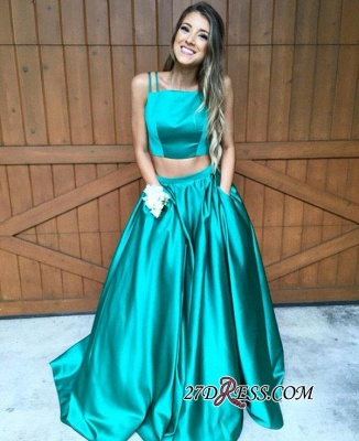 2020 Newest Sweep-Train Two-Piece Straps A-line Sleeveless Evening Dress_4