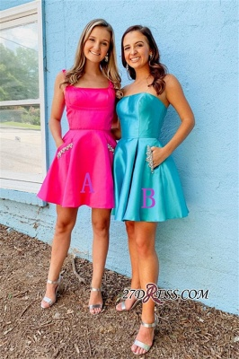 Fascinating Strapless Square A-line Beaded Homecoming Dresses_2