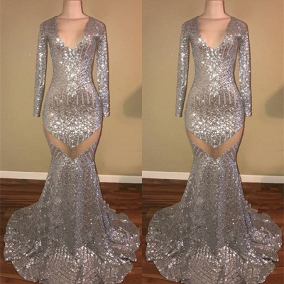 Long Sleeve Sequins Prom Dress | 2020 Mermaid V-Neck Evening Gowns BA9162_3