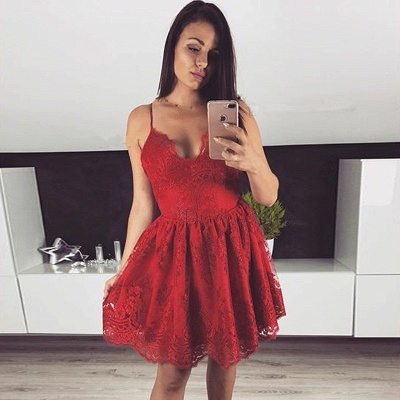 Cute Red Lace Spaghetti Strap Homecoming Dress | Short Fashion Formal Dress_3