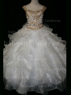 Formal Cheap Pageant Dresses for Girls with Beauty Customized 2020 Beaded Flower Girls Gowns for Sale_4