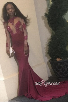 Burgundy prom dress 2020, lace evening gowns BK0_2