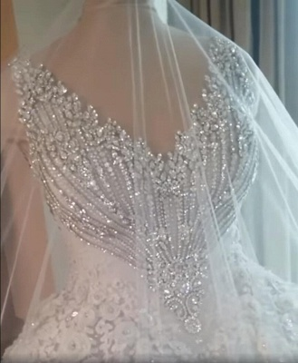 Luxury Crystals Ball Gown Wedding Dresses   V-Neck Sleeveless Lace Bridal Gowns_4
