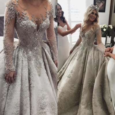Glamorous Long Sleeve Ball Gown Wedding Dress | 2020 Crystal Appliques Bridal Gowns_3