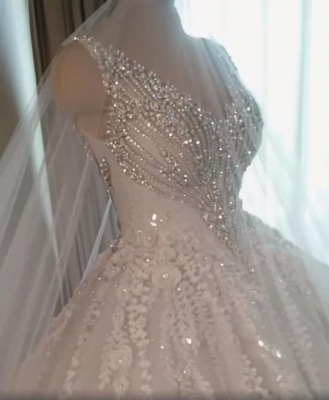 Luxury Crystals Ball Gown Wedding Dresses   V-Neck Sleeveless Lace Bridal Gowns_3
