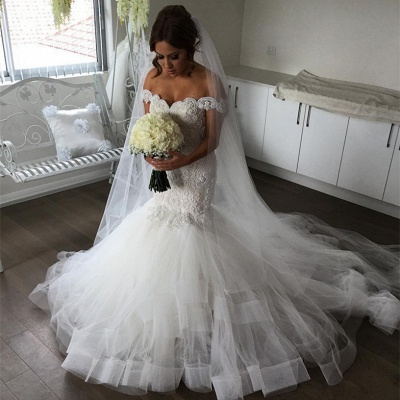 Glamorous Off-the-Shoulder Mermaid Wedding Dress | 2020 Tulle Bridal Gowns_3