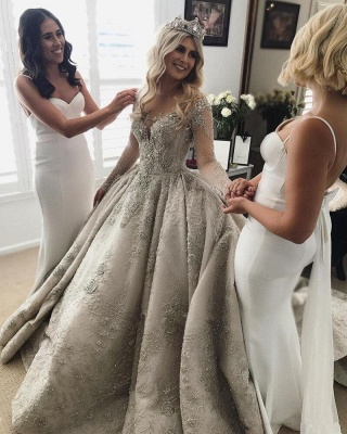 Glamorous Long Sleeve Ball Gown Wedding Dress | 2020 Crystal Appliques Bridal Gowns_2