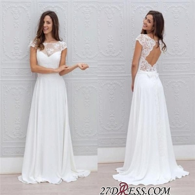 Simple A-line Backless Sweep-train Chic Short-Sleeves White Wedding Dress_1