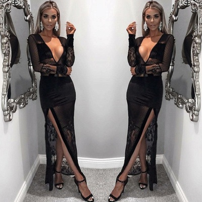 Sexy Black Illsuion V-Neck Prom Dress | Long Sleeve Lace Evening Gown With Slit_2