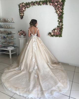 Chic Off-the-Shoulder 2020 Wedding Dresses Online | Lace Appliques Sequins Tulle Bridal Gowns_4