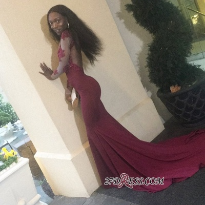 Burgundy prom dress 2020, lace evening gowns BK0_1
