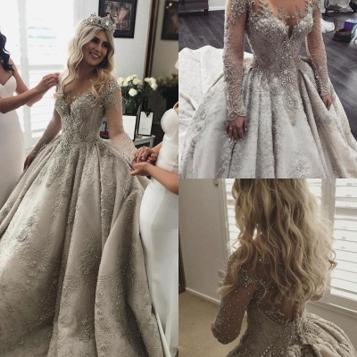 Glamorous Long Sleeve Ball Gown Wedding Dress | 2020 Crystal Appliques Bridal Gowns_4