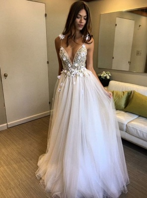 V-Neck A-line Appliques Evening Gowns   2020 Sleeveless Prom Dress_1