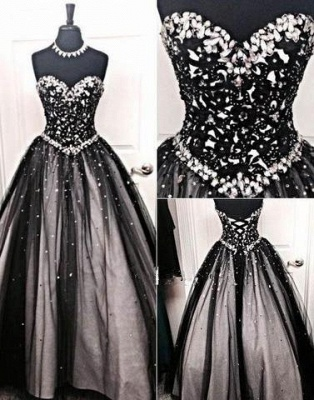 Crystal A-Line Lace-up Tulle Black Elegant Sweetheart Prom Dress BC0742_2