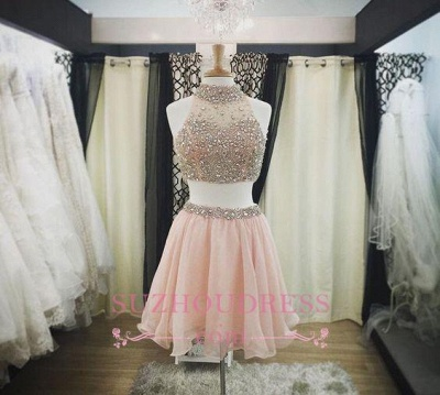 Luxury Pink Halter-Neck Two-Piece Blush Crystals Short Homecoming Dresses_1