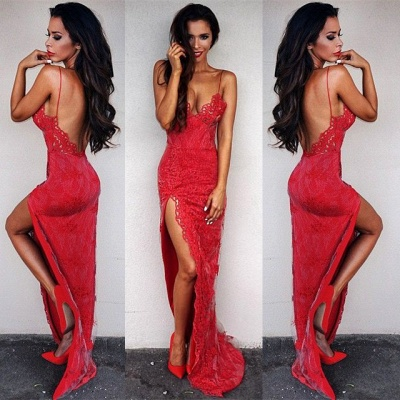 Sexy Red Lace Tight 2020 Prom Dress Front Split Floor Length_6