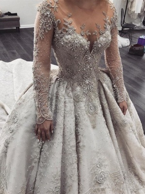 Glamorous Long Sleeve Ball Gown Wedding Dress | 2020 Crystal Appliques Bridal Gowns_1