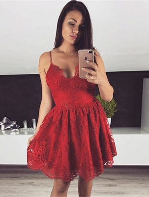 Cute Red Lace Spaghetti Strap Homecoming Dress | Short Fashion Formal Dress_1