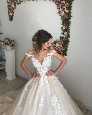 Chic Off-the-Shoulder 2020 Wedding Dresses Online | Lace Appliques Sequins Tulle Bridal Gowns_3