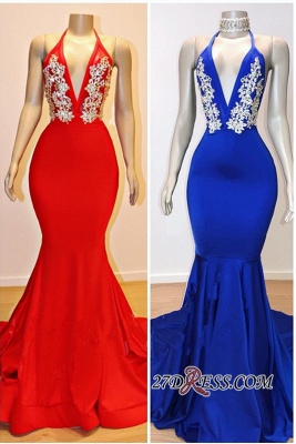 Gorgeous Halter V-Neck Prom Dresses   2020 Mermaid Long Evening Gowns On Sale BC0889_2