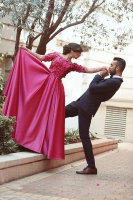 Glamorous Off-the-shoulder Long Sleeve Fuchsia Evening Dresses 2020 A-line Party Gowns_4