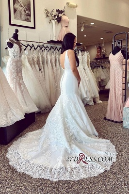 Brilliant Strap Applique Mermaid Wedding Dresses