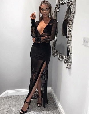 Sexy Black Illsuion V-Neck Prom Dress | Long Sleeve Lace Evening Gown With Slit_1