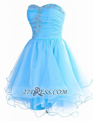 Pretty Semi-sweetheart Sleeveless Short Homecoming Dress Lace-up Crystals Organza Cocktail Gown_1