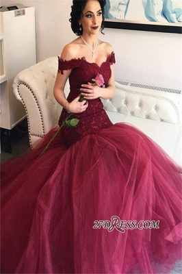 2020 Burgundy Off-the-Shoulder Tulle Lace Mermaid Newest Prom Dresses BA4286_2