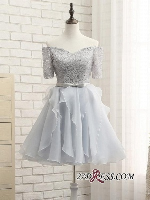 Short A-Line Lace Off-the-Shoulder Bowknot Elegant Homecoming Dress_4