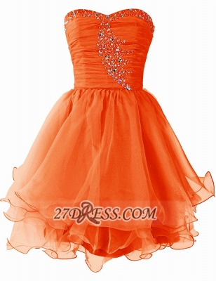 Pretty Semi-sweetheart Sleeveless Short Homecoming Dress Lace-up Crystals Organza Cocktail Gown_2