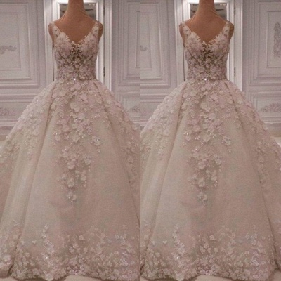 Hot Sell V-Neck Sleeveless Bridal Dress | 2020 Beadings Wedding Gown With Lace Appliques_2